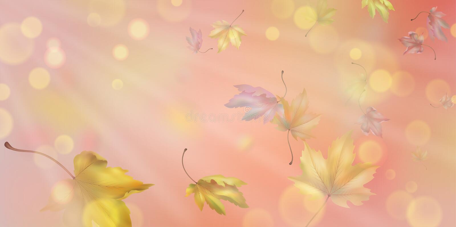 Falling Autumn Leaves. Autumn abstract background with falling maple leaves vector illustration