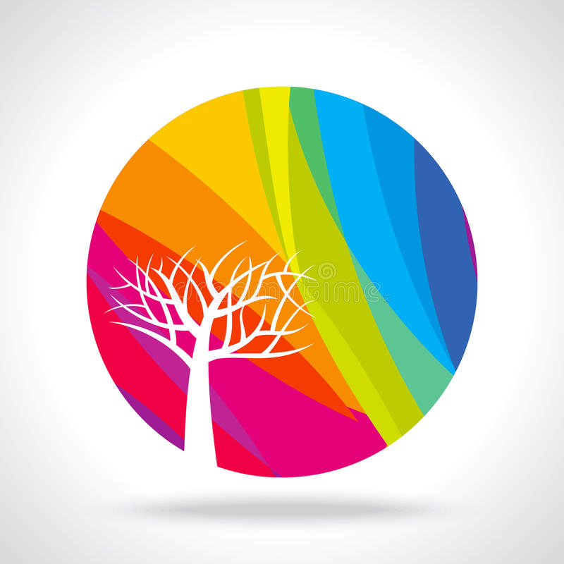 Autumn abstract tree on colourful background stock illustration