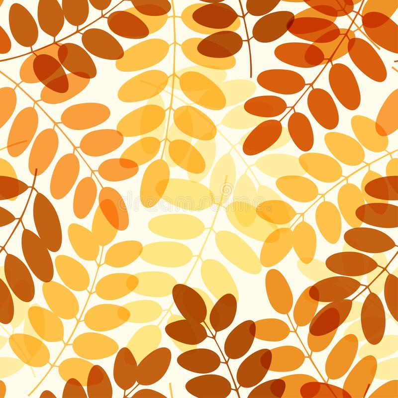 Orange and yellow acacia leaves seamless pattern. Seamless pattern with yellow and orange acacia leaves on light background. Autumn pattern. Wallpaper, textile royalty free illustration