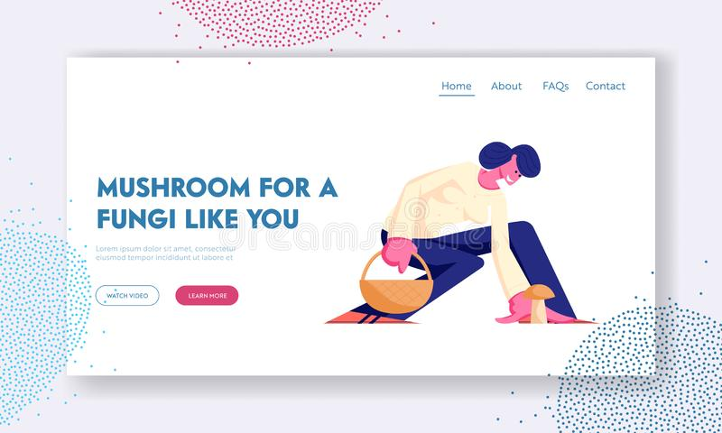 Autumn Activity, Hobby Website Landing Page, Woman Pick Up Mushroom in Forest, Girl Mushroomer Spend Time Outdoors Fall Season royalty free illustration