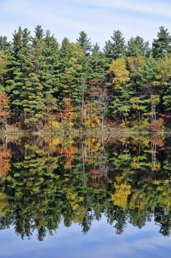 Autumn Adirondack Lake Water Reflections stock photo