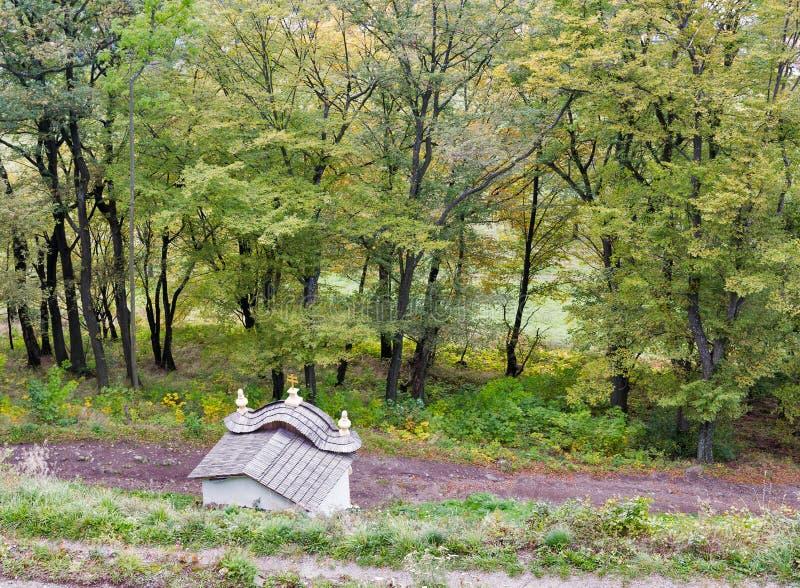 Autumn landscape with Calvary in Banska Stiavnica, Slovakia. royalty free stock images
