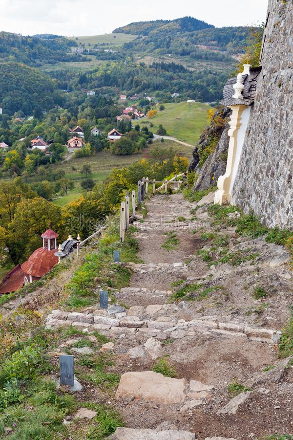 Autumn landscape with path to Calvary in Banska Stiavnica, Slovakia. stock photos
