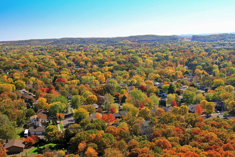 Autumn aerial residential Eau Claire Wisconsin stock photos