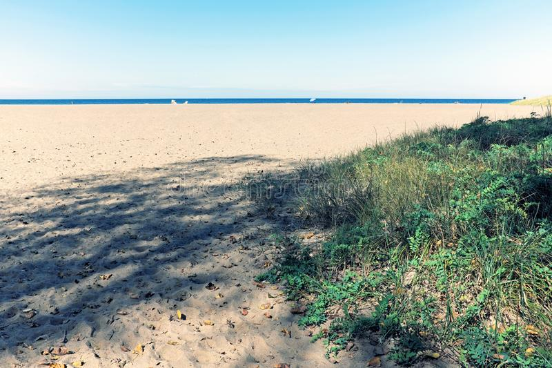 Autumn afternoon at Mentor Headlands Beach in Mentor, Ohio, USA. Mentor Headlands State Park and Beach in Mentor, Ohio, USA on a fall afternoon. Lake Erie and royalty free stock photo