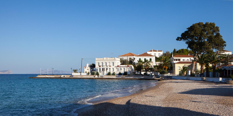 Autumn afternoon on Spetses stock photo