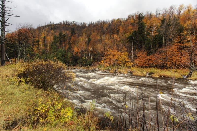 Autumn along river in Adirondack Mountains, New York stock image