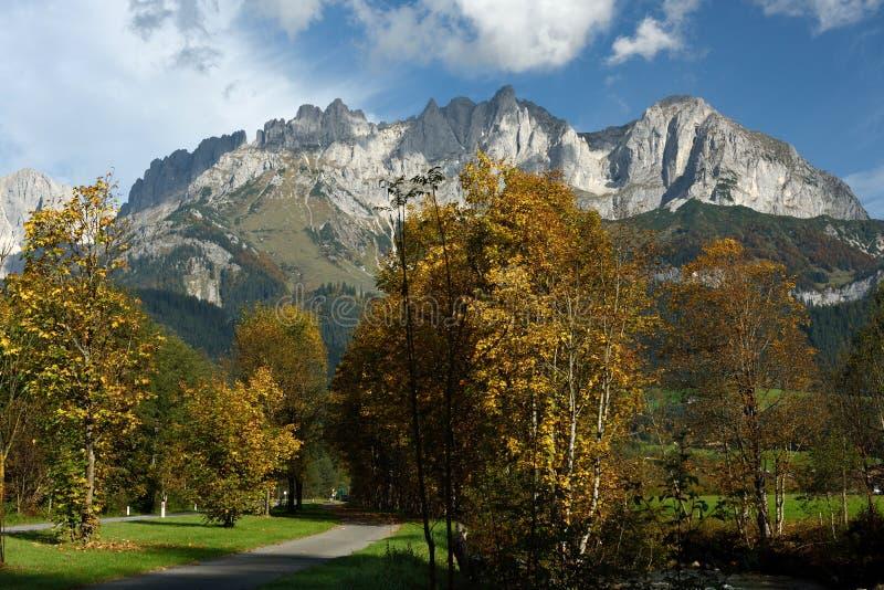 Wilder Kaiser, Tirol, Austria. Autumn alpine scenery under Wilder Kaiser mountains in Tirol - Austria royalty free stock photography