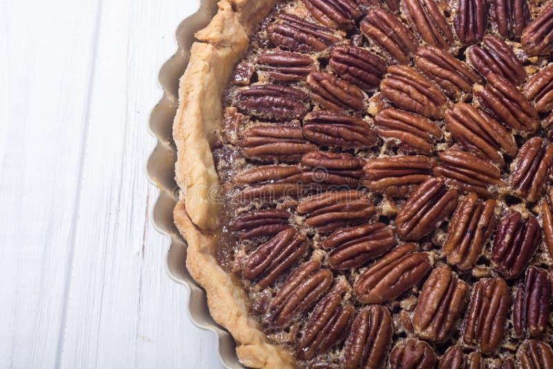 Autumn american pecan pie. Sweet dessert . Food background royalty free stock photography