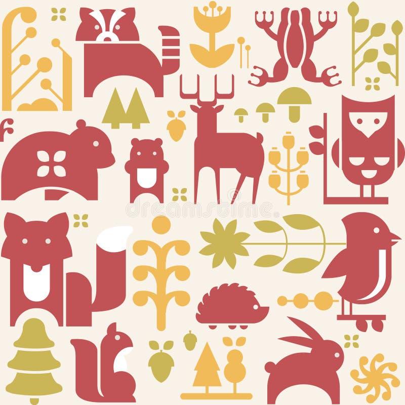 Autumn Animals et usines dans le style plat sans couture illustration stock