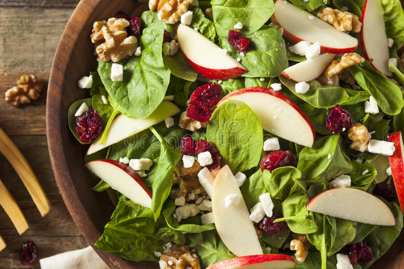 Autumn Apple Walnut Spinach Salad casalingo immagini stock