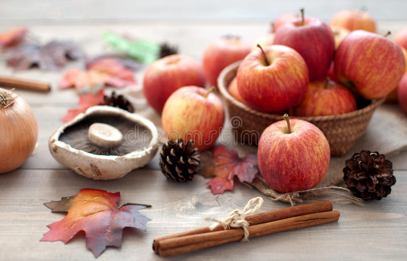 Autumn apples and leaves stock photo