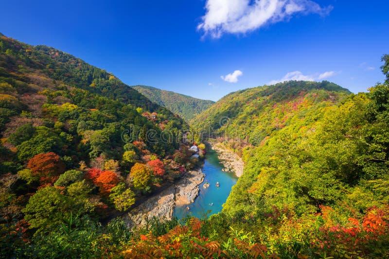 Autumn at Arashiyama view point stock image