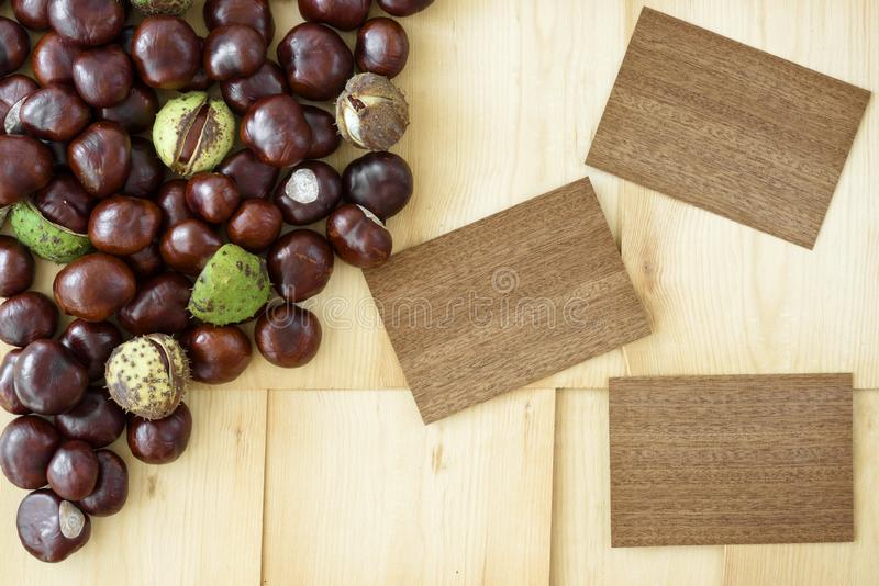 Autumn arrangement from three wooden cards with place for text lying next to scattered chestnuts, all on wood background. stock image