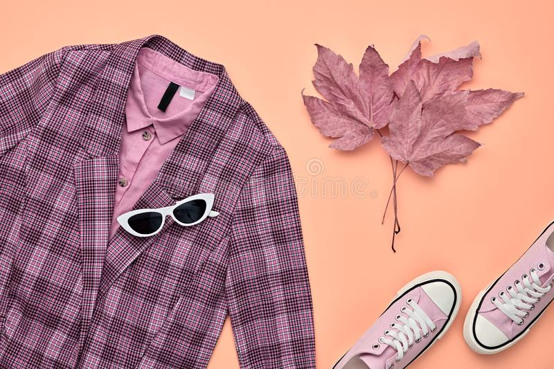 Autumn Fashion Clothes Flat lay, Leaf. Fall Outfit. Autumn Arrives. Fall fashion Clothes Accessories Outfit, Maple Leaf. Creative minimal Flat lay. Trendy pink stock images