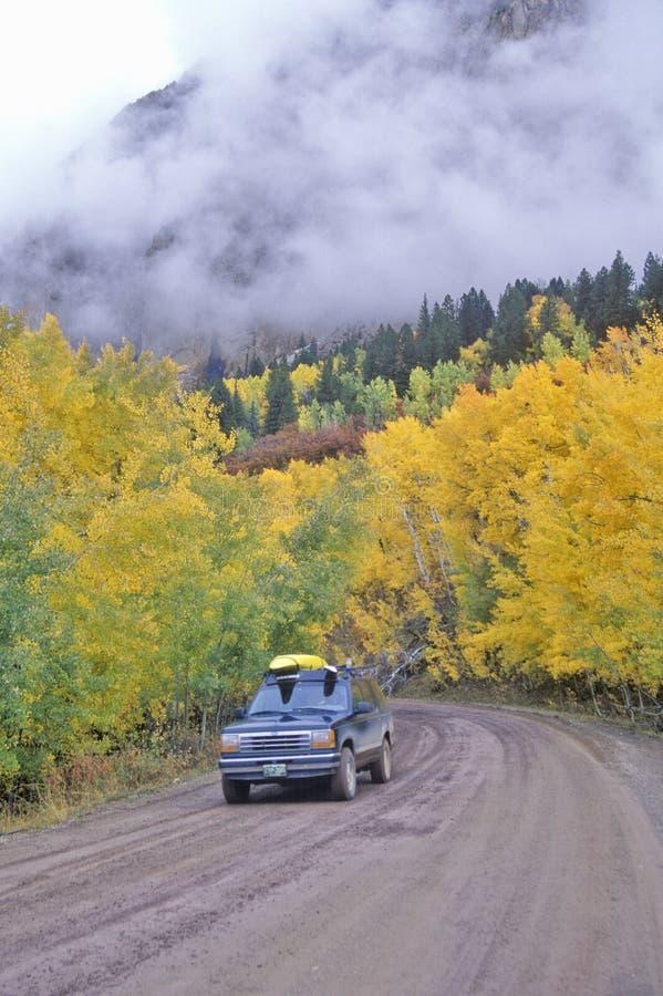 Autumn Aspens und Wolken beim Kebbler überschreiten in Gunnison-staatlichen Wald, Colorado lizenzfreie stockfotos