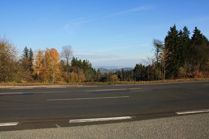 Autumn asphalt mountains road royalty free stock photography