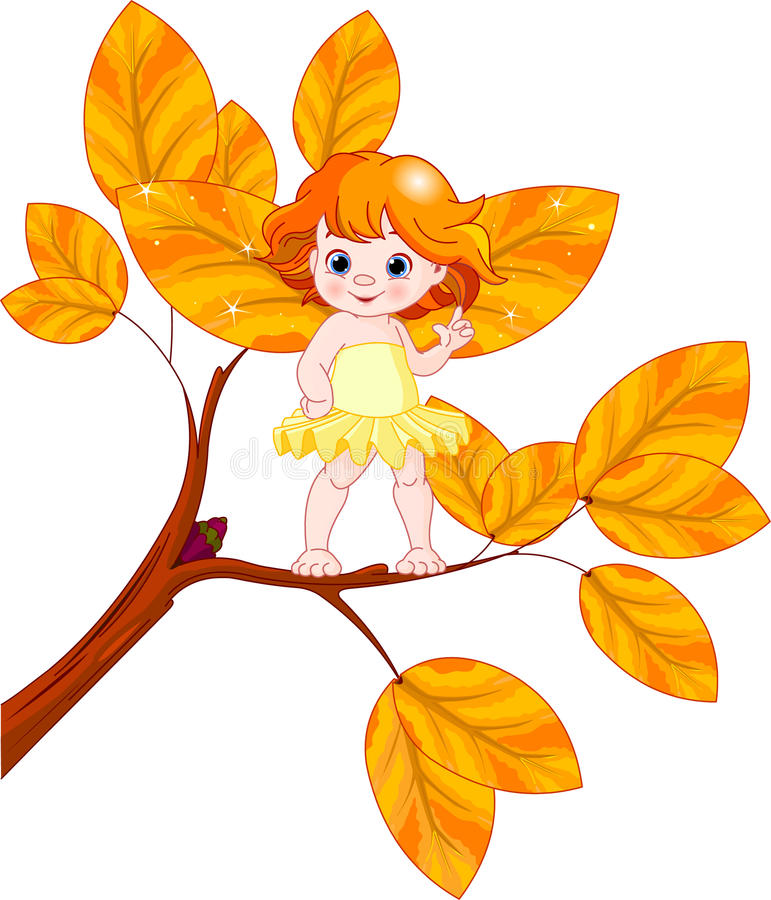 Autumn baby fairy. Illustration of a Autumn baby fairy stock illustration