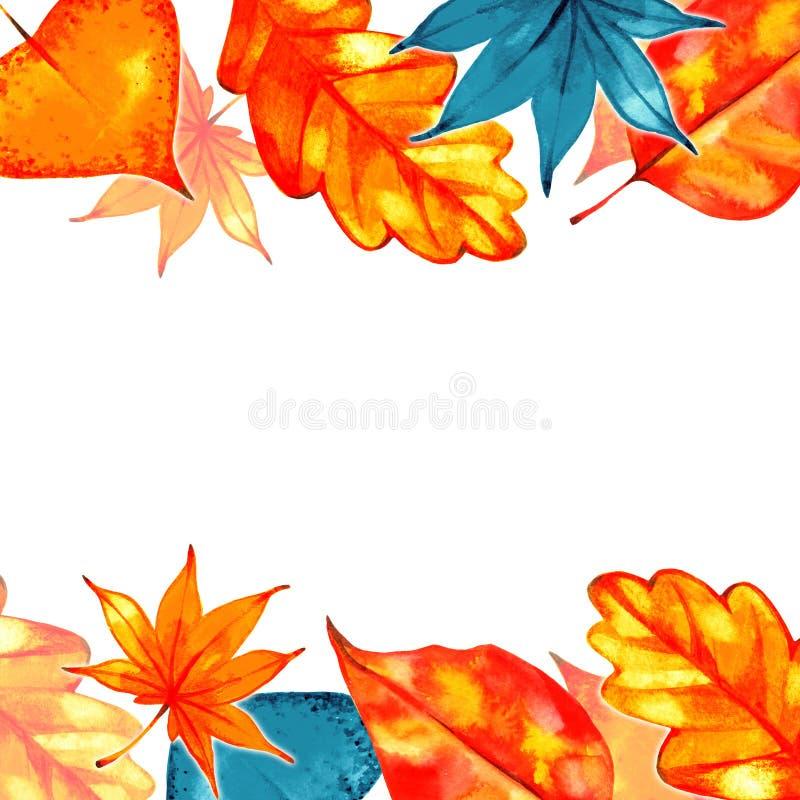 Autumn Background Border Abstract artistiek dalingskader met een plaats voor tekst vector illustratie