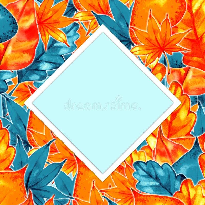 Autumn Background Border Abstract artistiek dalingskader met een plaats voor tekst royalty-vrije illustratie
