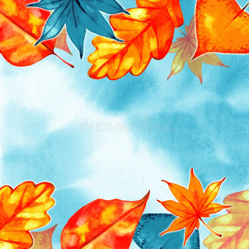 Autumn Background Border Abstract artistiek dalingskader met een plaats voor tekst stock illustratie