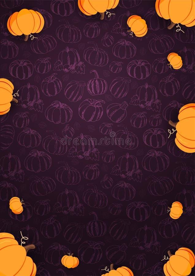 Autumn Background con la calabaza para la venta que hace compras, cartel del promo y prospecto del marco, bandera del web Plantil ilustración del vector