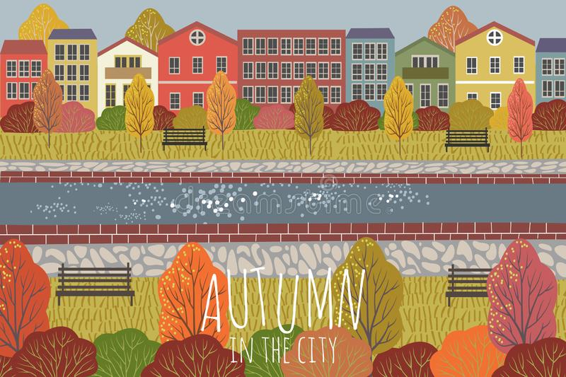 Autumn background. Cute flat vector illustration of city landscape with houses , river, benches and trees. Freehand stock illustration