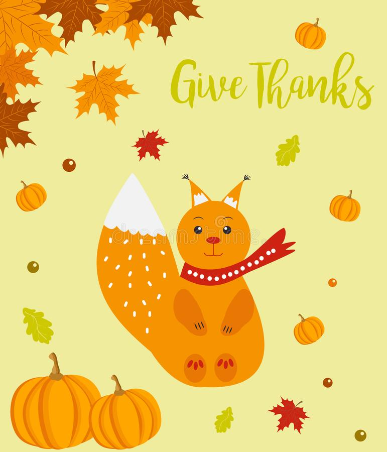 Autumn background with cute squirrel and Give Thanks text vector illustration