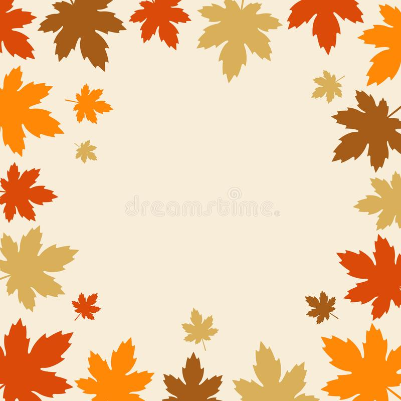 Autumn background with fall leaves border design. vector illustration