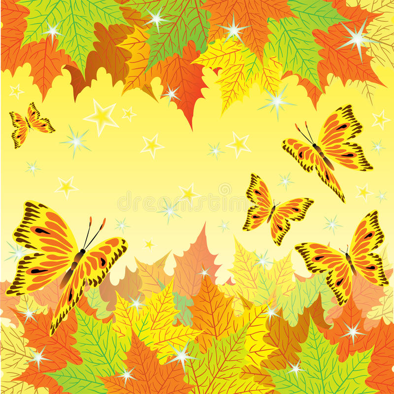 Autumn background with fall leaves and butterflies. Autumn background with fall leaves and golden butterflies vector illustration