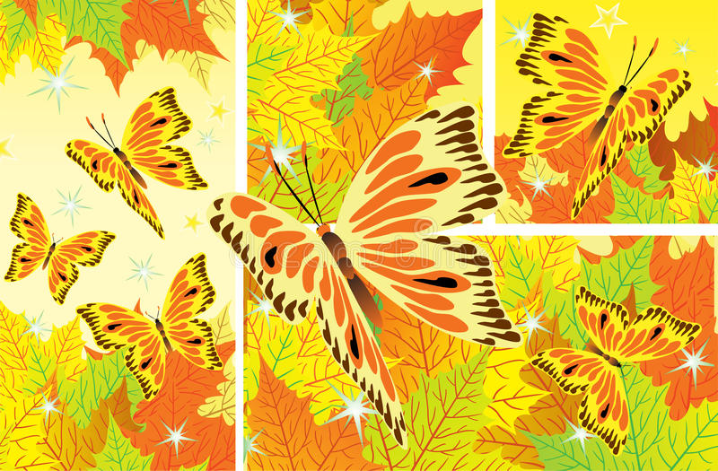 Autumn background with fall leaves and butterflies. Autumn background with fall leaves and golden butterflies royalty free illustration