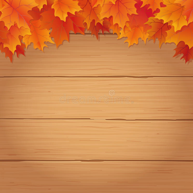 Autumn background with fall leaves on wood. Fall leaves border on top of wooden background autumnal vector illustration vector illustration