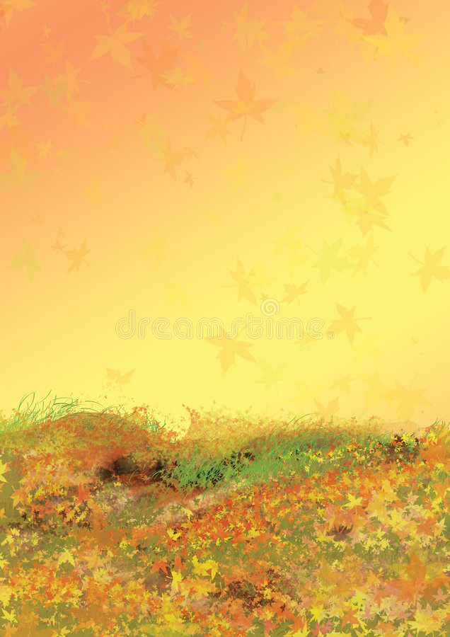 Autumn background with falling leaves stock illustration