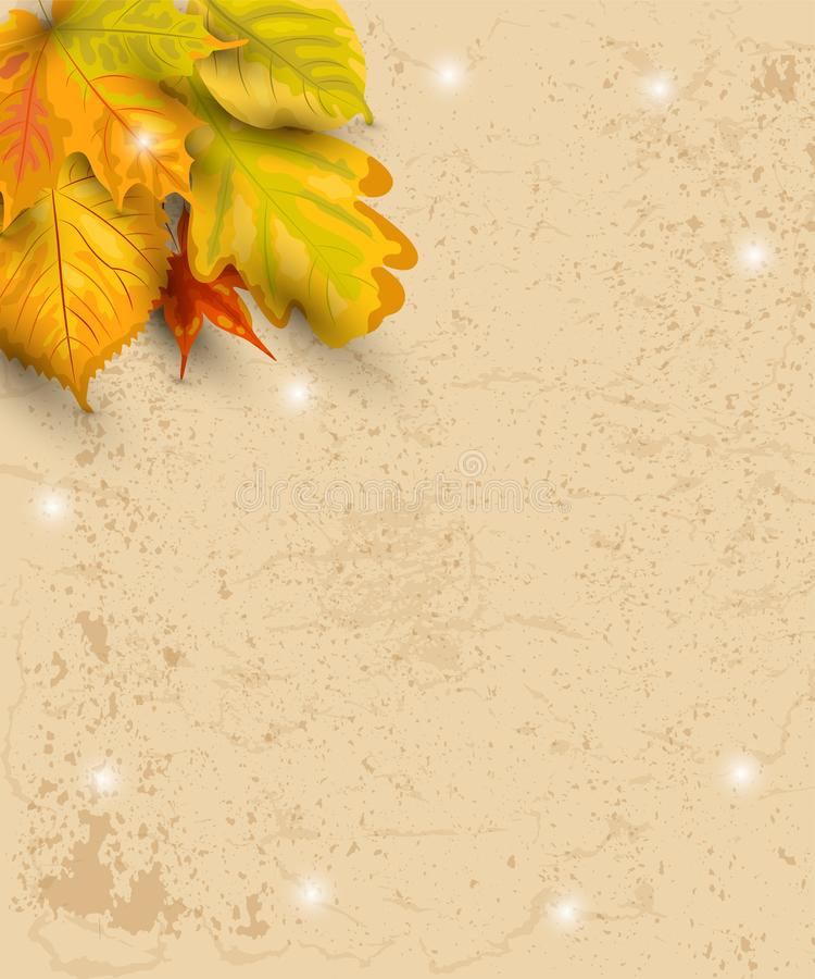 Autumn background with falling leaves on craft paper. Place for text. Great for party invitation, seasonal sale, wedding, web, fall festival, poster. Vector royalty free illustration
