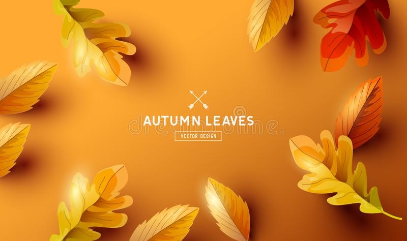 Autumn Background with Falling Leaves Design stock illustration