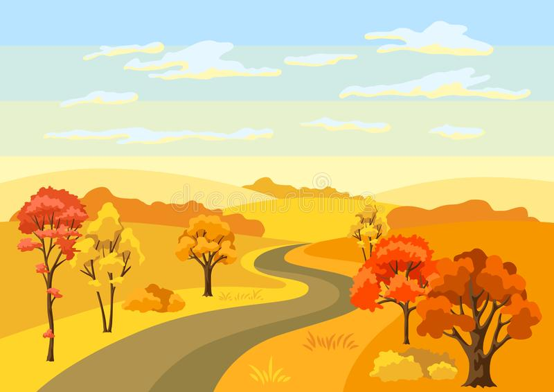 Autumn background with landscape and stylized trees. vector illustration
