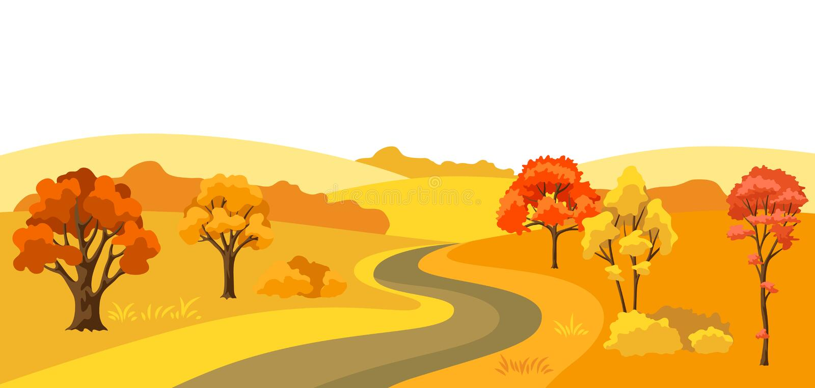 Autumn background with landscape and stylized trees. royalty free illustration