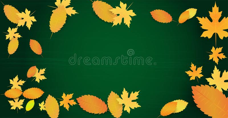 Autumn background with leaves and empty space for your text. Template on the black board background. Ad concept. Vector royalty free illustration
