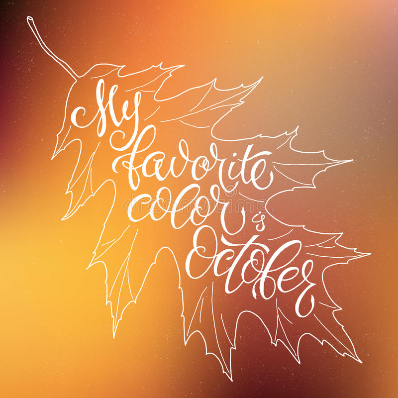 Autumn background with leaves falling. Calligraphy graphic design element. stock photo