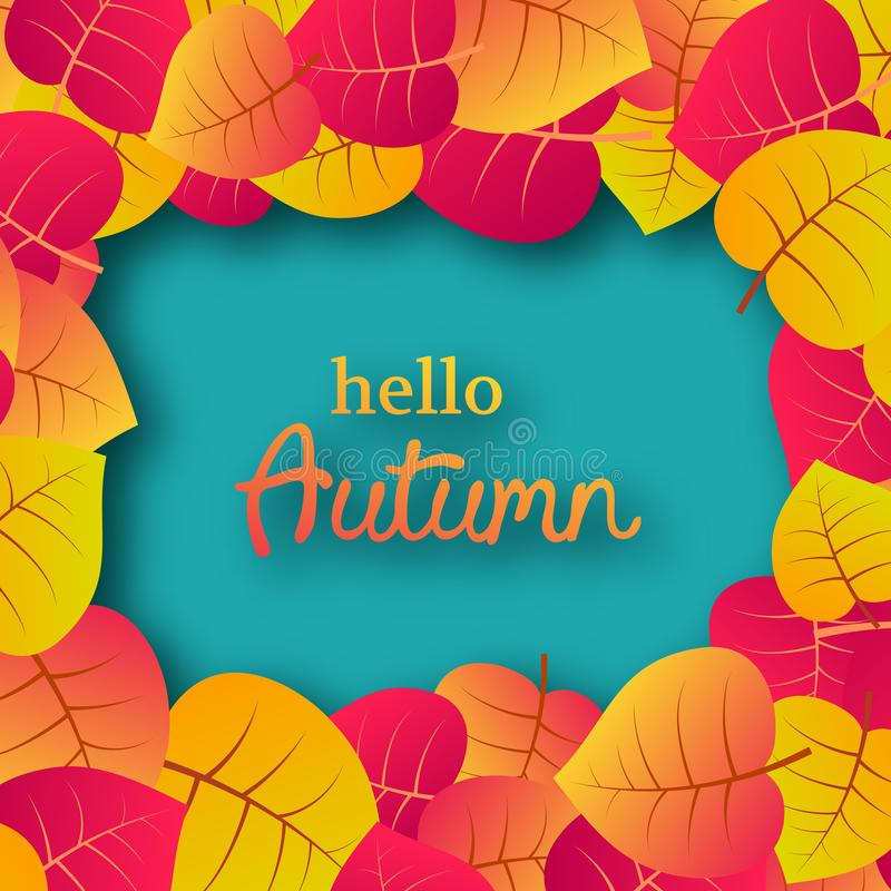 Autumn background with maple leaves. Autumn background with maple yellow leaves and place for text.  Card design for fall season banner or poster. Vector vector illustration