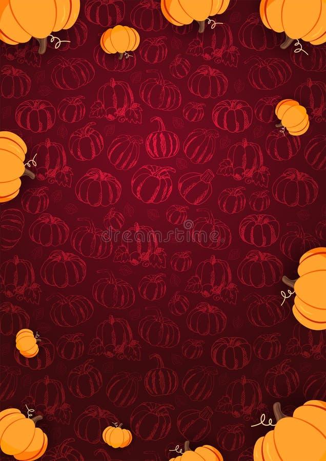 Autumn Background met Pompoen voor het winkelen verkoop, promoaffiche en kaderpamflet, Webbanner Vectorillustratiemalplaatje royalty-vrije illustratie