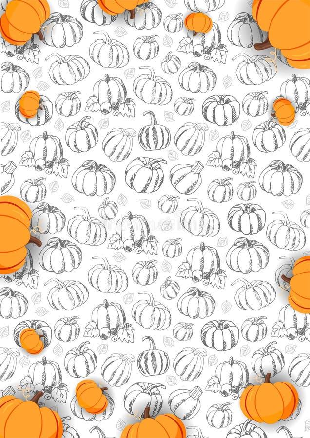 Autumn Background met Pompoen voor het winkelen verkoop, promoaffiche en kaderpamflet, Webbanner Vectorillustratiemalplaatje stock illustratie