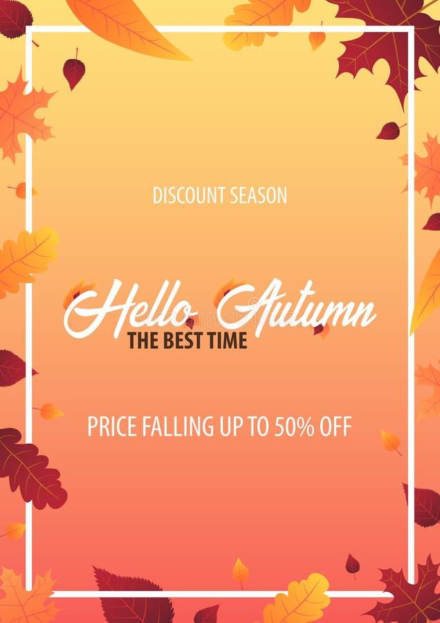 Autumn Background mit Blättern für Einkaufsverkaufs- oder Promoplakat- und -rahmenbroschüre oder Netzfahne Vektorillustrationssch vektor abbildung