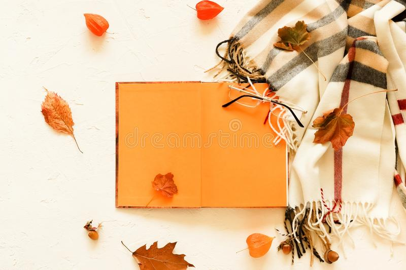 Autumn background. Open book for text layout, mock up , scarf in a cage. Glasses and autumn leaves on a white vintage background. Flat lay. Top view. Copy royalty free stock photography