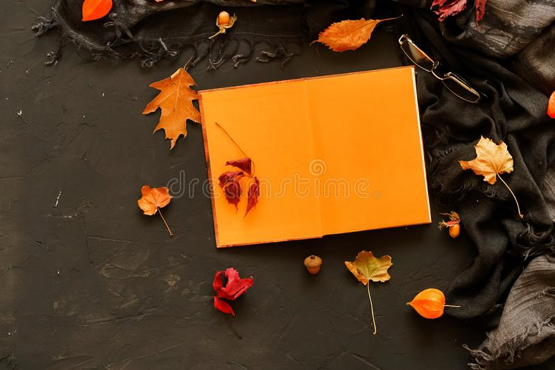Autumn background. Open book for text layout, mock up , scarf in a cage. Glasses and autumn leaves on a dark vintage background. Flat lay. Top view. Copy space stock image