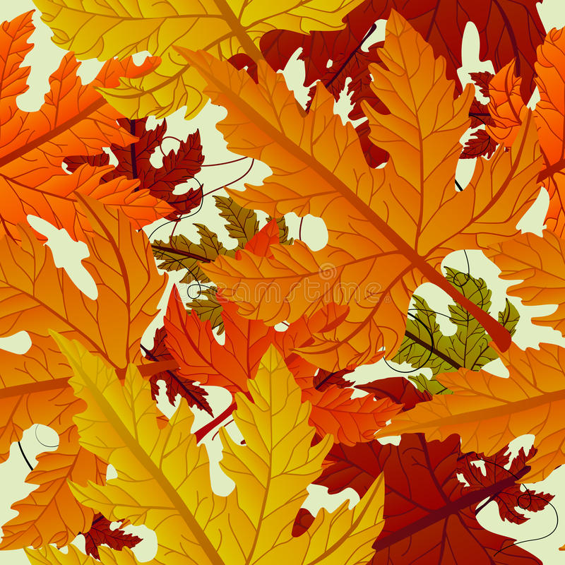 Autumn background, seamless tile with maple leaves vector illustration