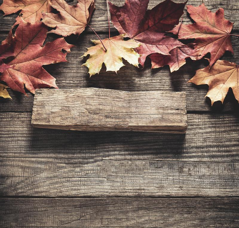 Autumn background with signboard, orange leaf on old grunge wood deck, copy place for inscription, Top view, tablet for text.  stock images