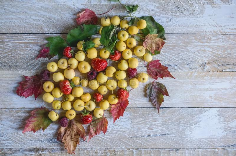 Autumn background of small yellow apples, strawberries, raspberries and beautiful multi-colored leaves on blue wooden background. Copy space. The horizontal royalty free stock photography