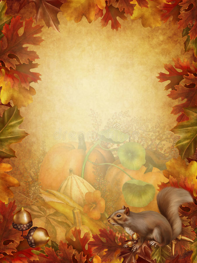 Download Autumn Background With A Squirrel Stock Illustration - Illustration: 27957292