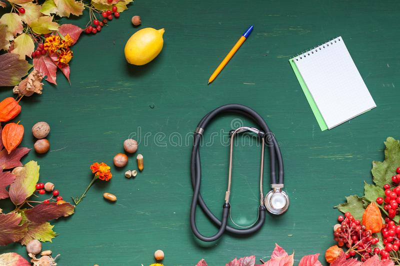 Autumn background stethoscope yellow leaves hospital z stock images